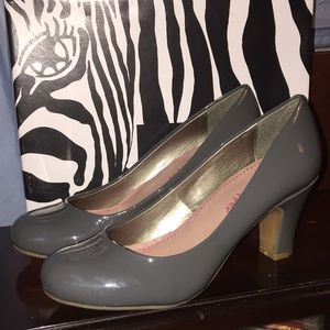New Pink & Pepper Gray Patent Pumps